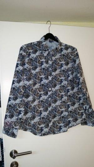 cecil bluse gr. xl blau/braun geblümt tailiert