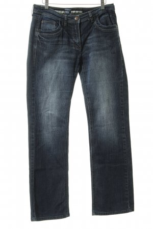 Cecil Boot Cut Jeans blau Washed-Optik
