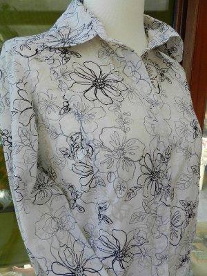 Cecil  Damen Bluse - Schwarz/Weiß mit Blumen   - Größe M - Top Zustand