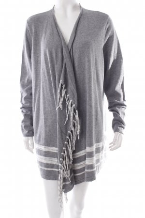 Cecil Fringed Vest light grey-white striped pattern casual look