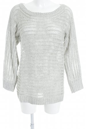 Cecil Coarse Knitted Sweater light grey-natural white weave pattern