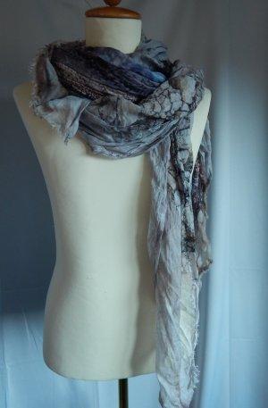 Cecil,großes Tuch,Schal,quadratisch,mehrfarbig Blautöne,wie Aquarellmalerei