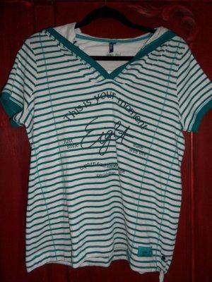CECIL Kapuzenshirt, grün/weiß, Größe 38