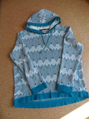 Cecil Sweat à capuche blanc-bleu pétrole tissu mixte