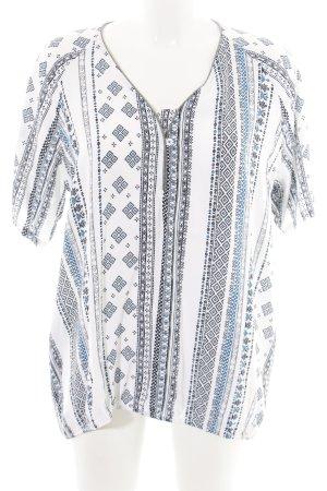 Cecil Kurzarm-Bluse weiß-blau abstraktes Muster Casual-Look