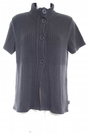 Cecil Short Sleeve Knitted Jacket dark grey loosely knitted pattern casual look