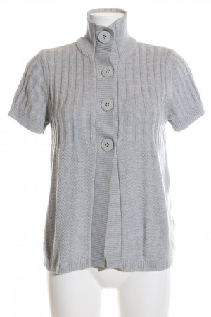 Cecil Short Sleeve Knitted Jacket light grey cable stitch casual look