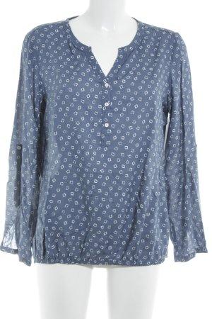 Cecil Langarm-Bluse weiß-stahlblau abstraktes Muster Business-Look