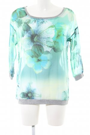 Cecil Oversized Blouse turquoise-light grey flower pattern business style