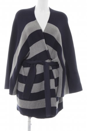Cecil Poncho light grey-dark blue striped pattern casual look