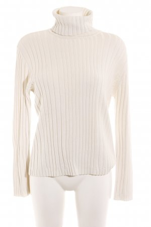 Cecil Jersey de cuello alto blanco-blanco puro Patrón de tejido look casual