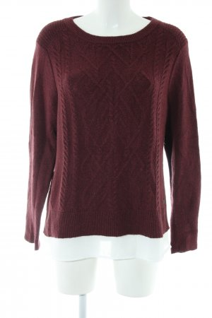 Cecil Rundhalspullover rot meliert Casual-Look