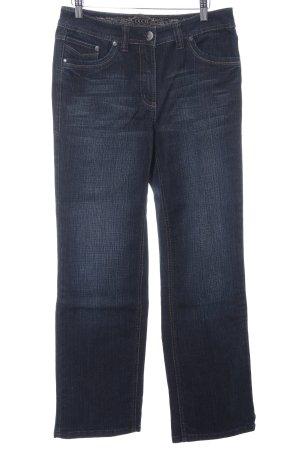 Cecil Straight-Leg Jeans dunkelblau Schriftzug gestickt Washed-Optik