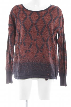Cecil Strickpullover rot-dunkelblau abstraktes Muster Casual-Look