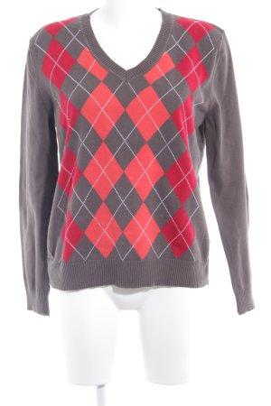 Cecil V-Ausschnitt-Pullover graubraun Retro-Look