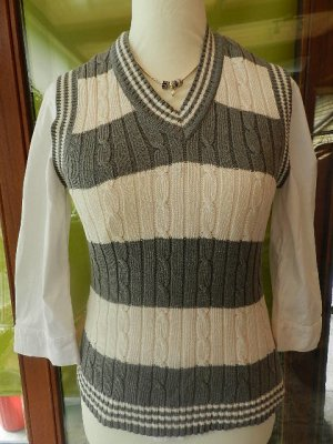 Cecilia Classics Smanicato lavorato a maglia grigio-bianco Tessuto misto
