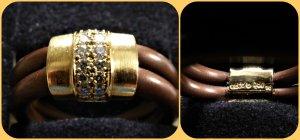 Anello d'oro multicolore Tessuto misto