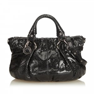Celine Embossed Patent Leather Satchel