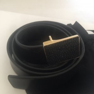 Celine Leather Belt black-gold-colored