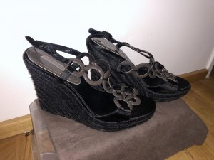 Celine Wedge Sandals black-anthracite
