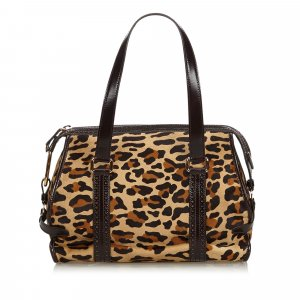 Celine Leopard Print Pony Hair Shoulder Bag