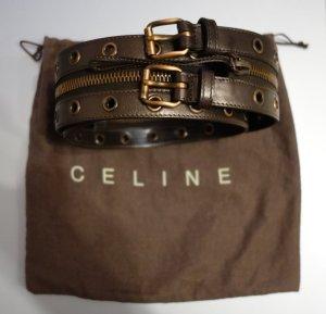 Celine Paris double zip Taillengürtel Hüftgürtel Leder Bronze Gr. M Gürtel