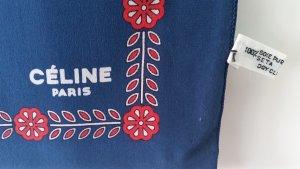 CELINE Paris Schal Tuch Seide silk soie foulard Vintage blau