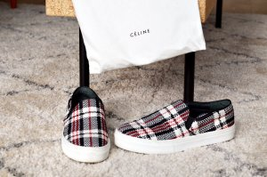 Céline Plaid Tartan Slip On Slip-on Sneakers 39