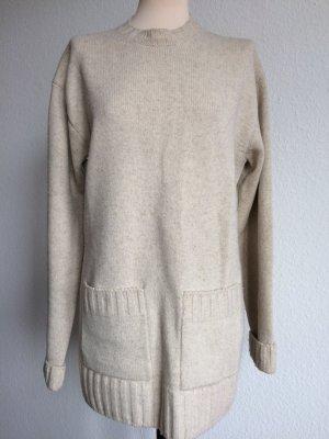 CÉLINE Pullover Tunika beige Wolle Gr. S