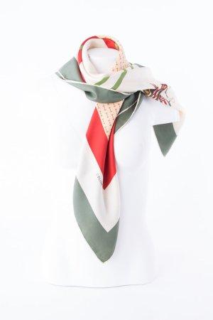CÉLINE - Seidentuch mit graphischem Muster Grün-Weiß