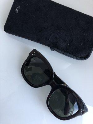 Celine Occhiale da sole spigoloso nero-marrone-nero