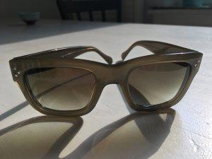 Celine Hoekige zonnebril groen-grijs-khaki kunststof