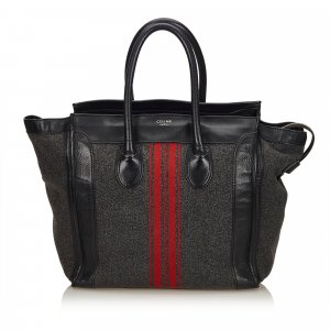 Celine Wool Racer Stripe Medium Luggage