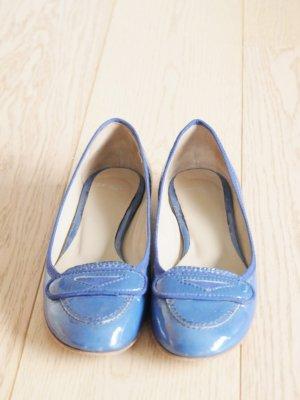 Cenedella Patent Leather Ballerinas cornflower blue leather