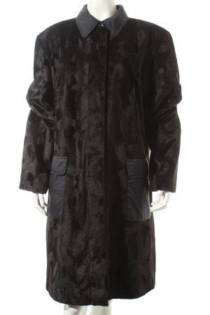 Center Coat Manteau noir motif abstrait élégant