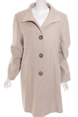 Centigrade Manteau en laine crème motif en zigzag style classique