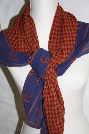 Cerruti 1881 Paris Tuch / Schal / blau-braun / Seidentuch / Schultertuch