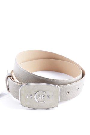 Cerruti Ledergürtel beige Monogram-Muster Street-Fashion-Look