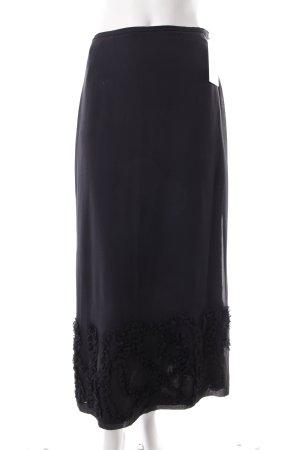 Cerruti Maxirock schwarz Blumenmuster schlichter Stil