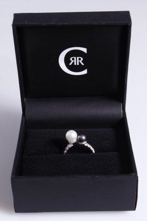 Cerruti Ring mit zwei Perlen grau weiß 54