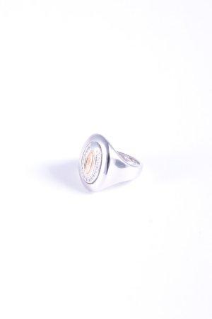Cerruti Silver Ring silver-colored monogram pattern wet-look