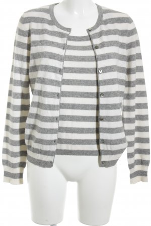 Cerruti Knitted Twin Set natural white-grey striped pattern casual look