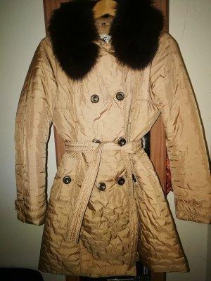 cerruti 1881 Abrigo de plumón color oro-marrón arena tejido mezclado