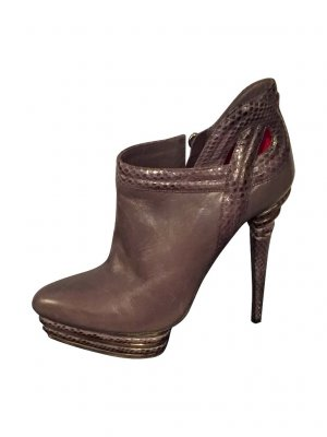 Cesare Paciotti Ankle Boots silver-colored leather