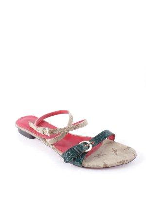 Cesare Paciotti Riemchen-Sandalen beige-dunkelgrün Materialmix-Look