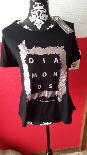 T-shirt zwart-zilver