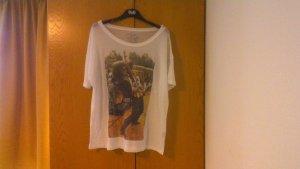 T-shirt wit-zwart Katoen