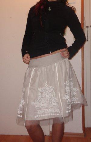 Promod Falda circular blanco-camel