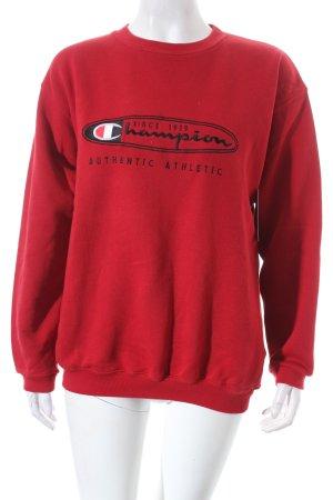 Champion Sweatshirt rot-schwarz Schriftzug gestickt sportlicher Stil