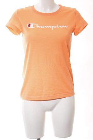 Champion T-Shirt light orange-natural white printed lettering casual look